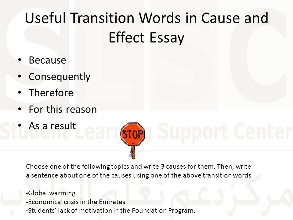 transition words for cause and effect writing