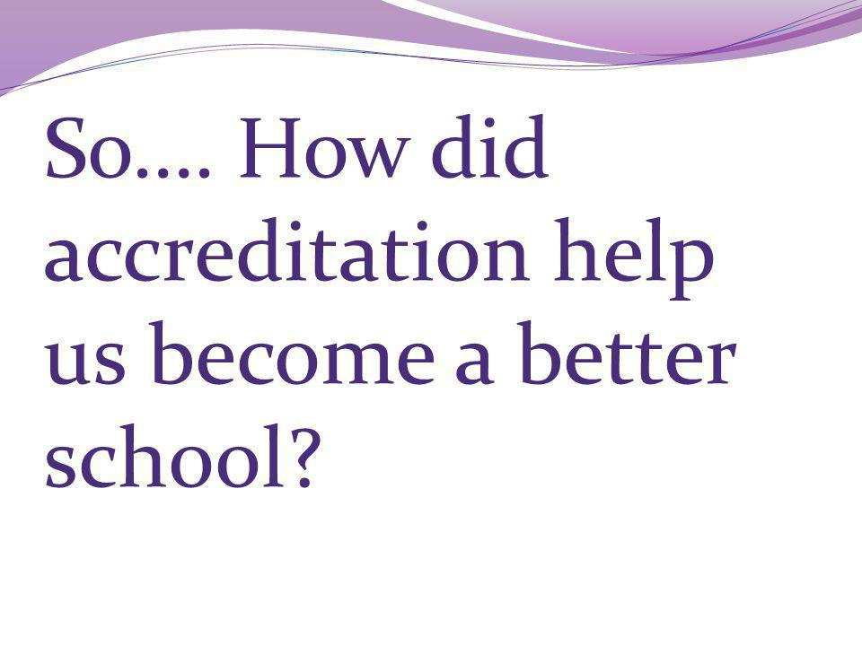 So…. How did accreditation help us become a better school