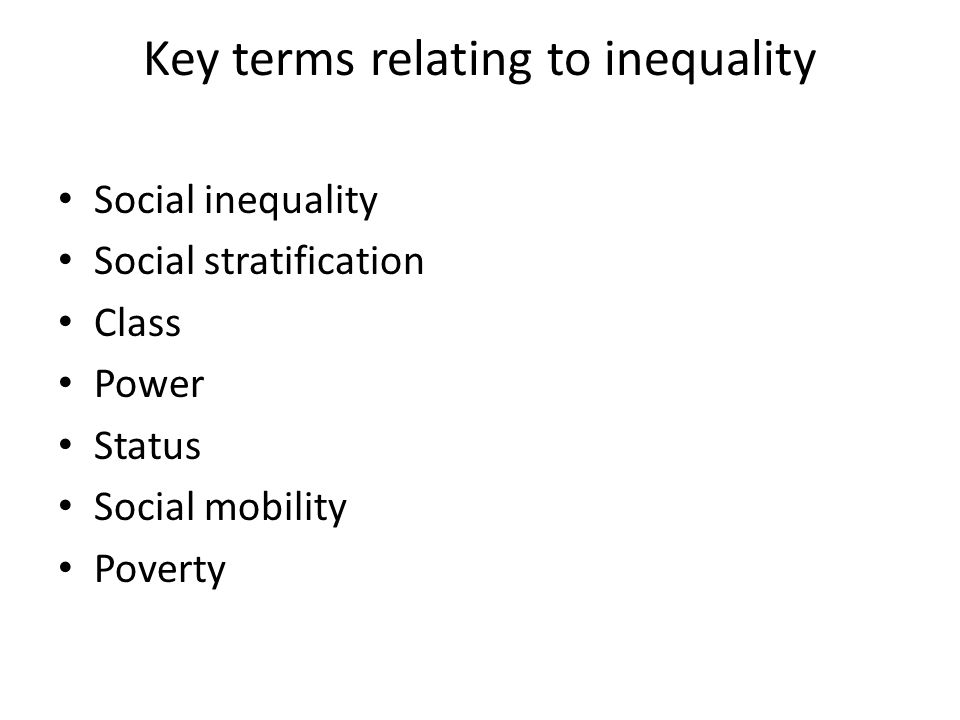 Key terms relating to inequality