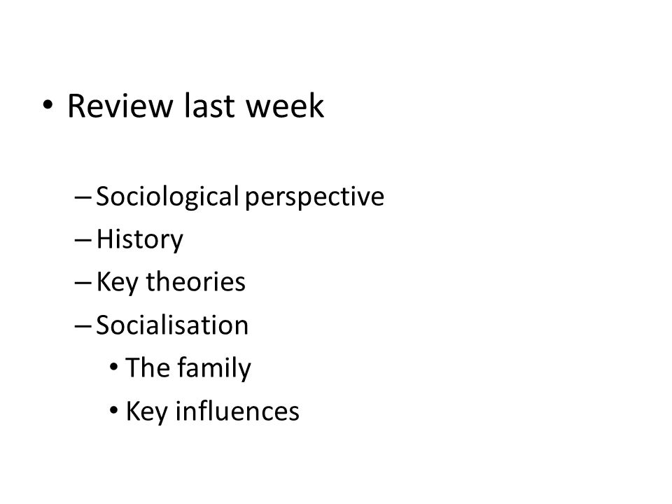 Review last week Sociological perspective History Key theories