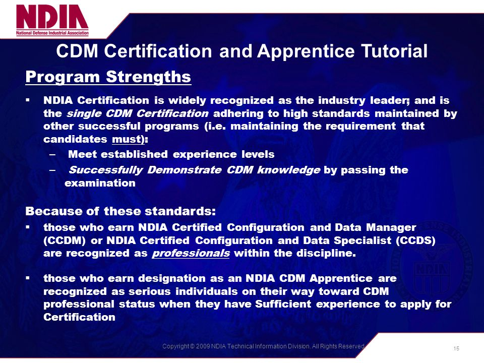 CDM Certification and Apprentice Programs The NDIA Process - ppt ...