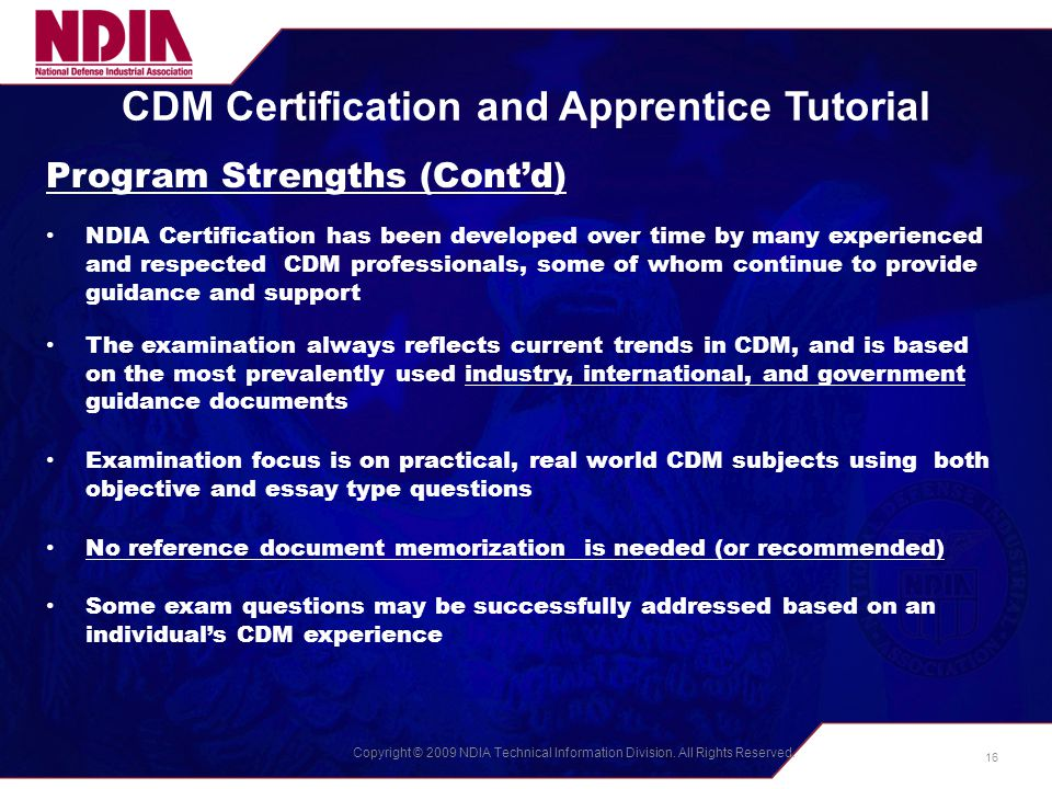 Cdm Certification And Apprentice Programs The Ndia Process Ppt