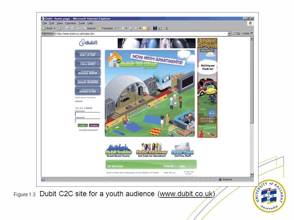 Figure 1.3 Dubit C2C site for a youth audience (