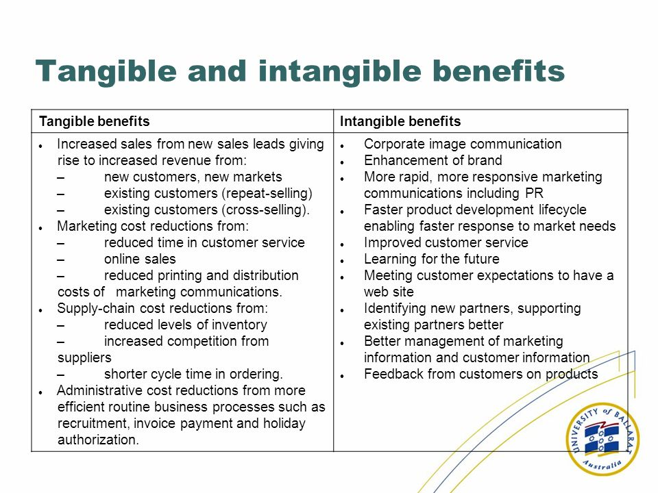 Tangible and intangible benefits