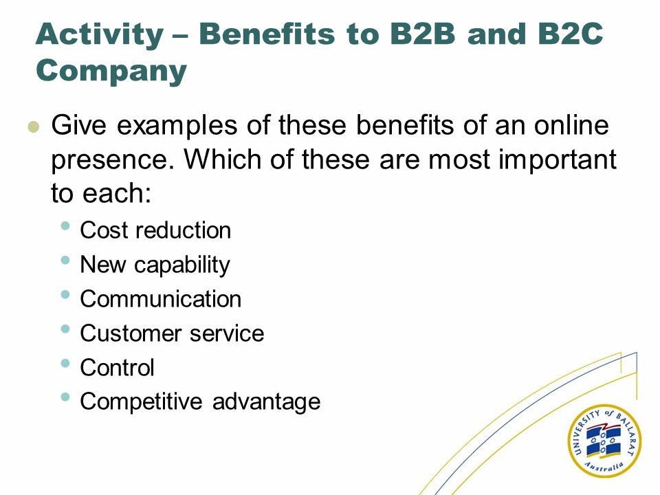 Activity – Benefits to B2B and B2C Company