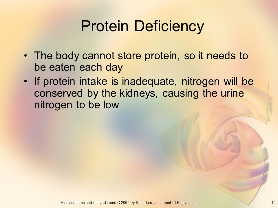 Protein Deficiency The body cannot store protein, so it needs to be eaten each day.