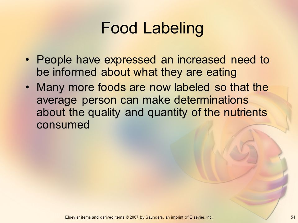 Food Labeling People have expressed an increased need to be informed about what they are eating.
