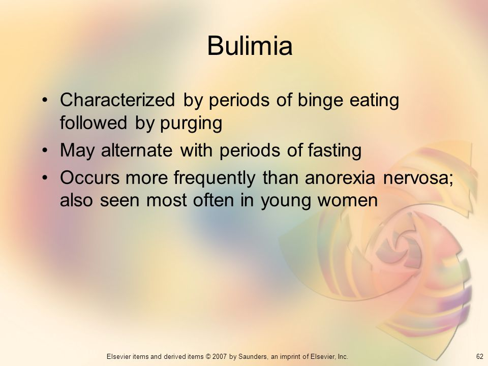 Bulimia Characterized by periods of binge eating followed by purging