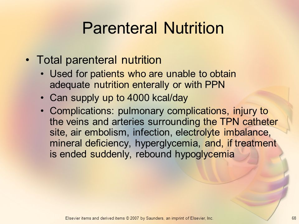 Parenteral Nutrition Total parenteral nutrition