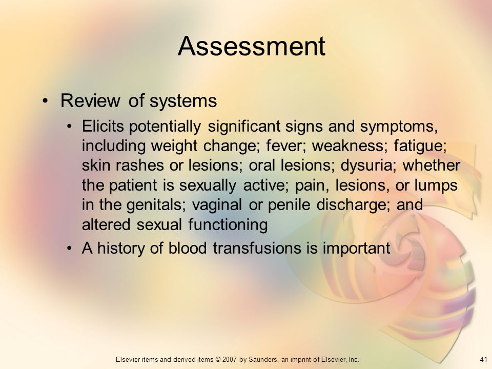Assessment Review of systems