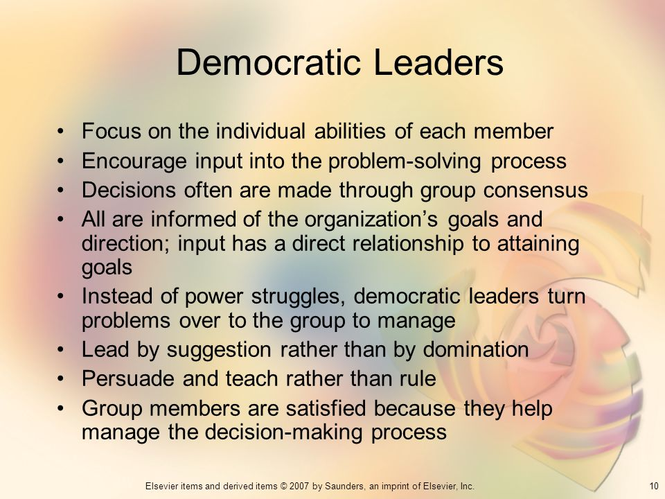 Democratic Leaders Focus on the individual abilities of each member