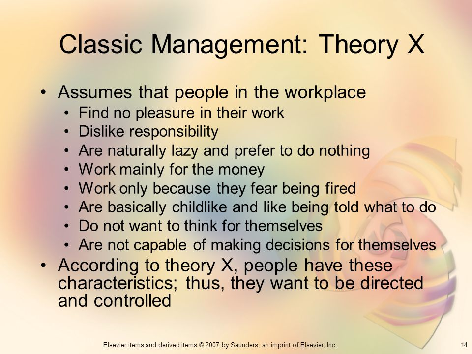 Classic Management: Theory X
