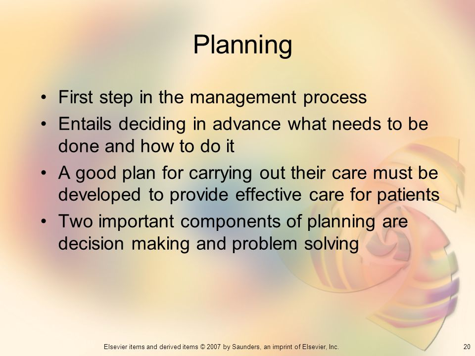 Planning First step in the management process