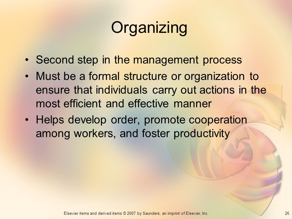 Organizing Second step in the management process