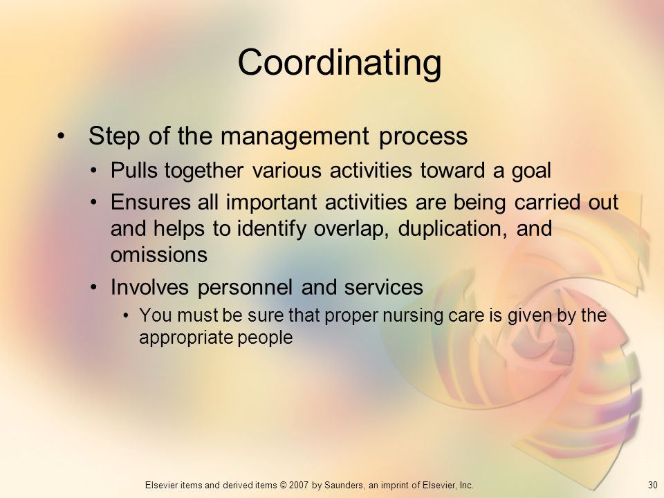 Coordinating Step of the management process