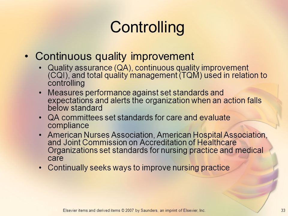 Controlling Continuous quality improvement