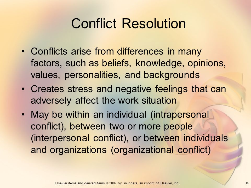 Conflict Resolution Conflicts arise from differences in many factors, such as beliefs, knowledge, opinions, values, personalities, and backgrounds.