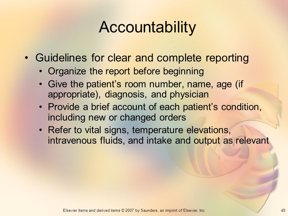 Accountability Guidelines for clear and complete reporting