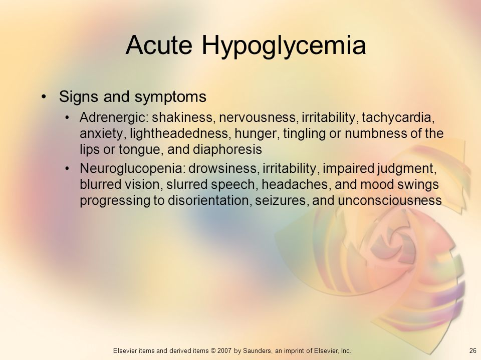 Acute Hypoglycemia Signs and symptoms