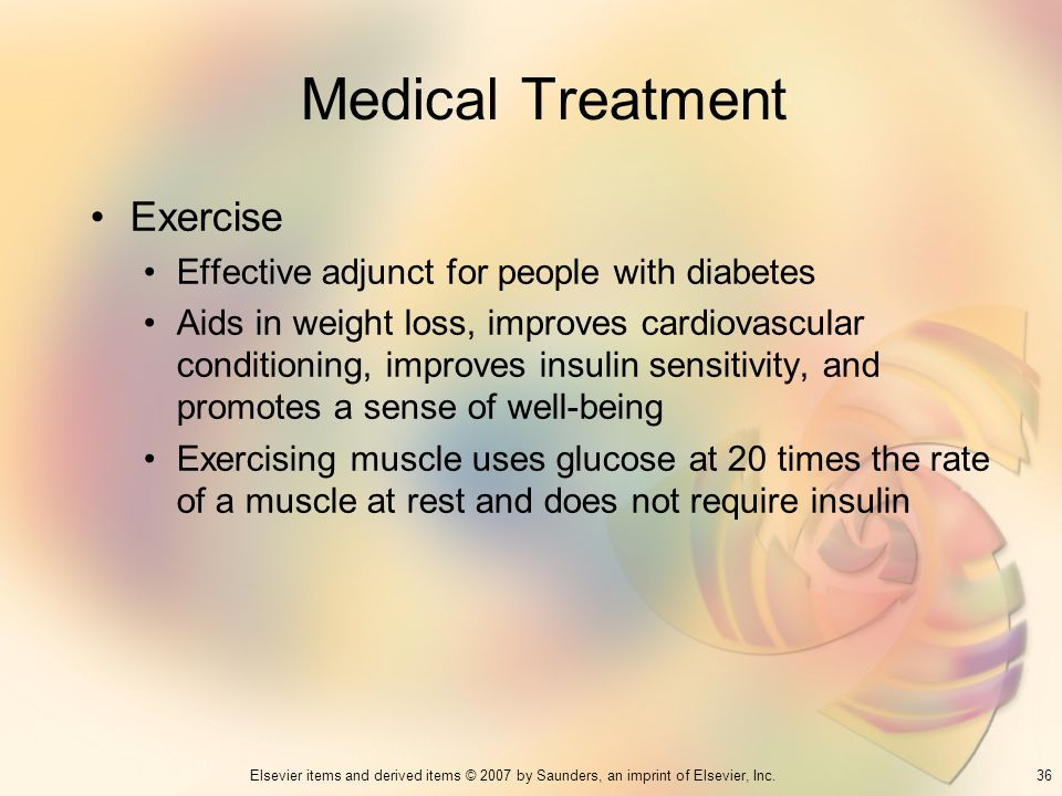 Medical Treatment Exercise Effective adjunct for people with diabetes