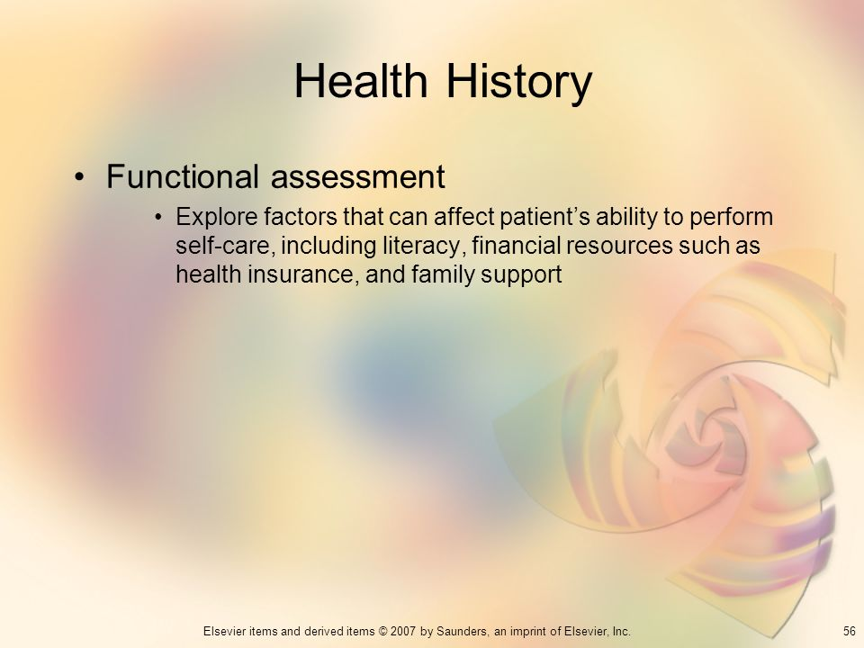 Health History Functional assessment