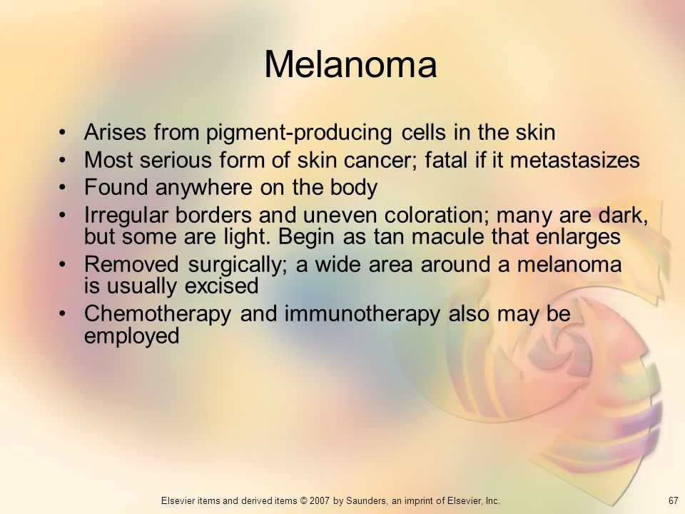 Melanoma Arises from pigment-producing cells in the skin