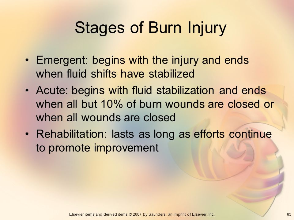 Stages of Burn Injury Emergent: begins with the injury and ends when fluid shifts have stabilized.