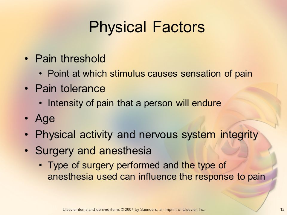 Physical Factors Pain threshold Pain tolerance Age
