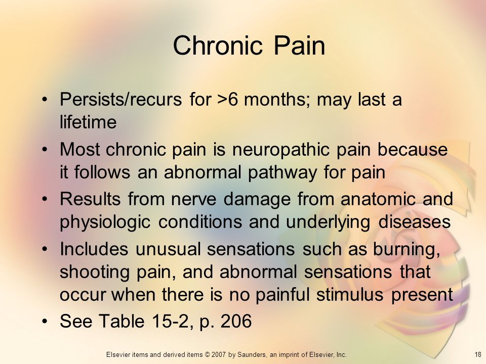 Chronic Pain Persists/recurs for >6 months; may last a lifetime