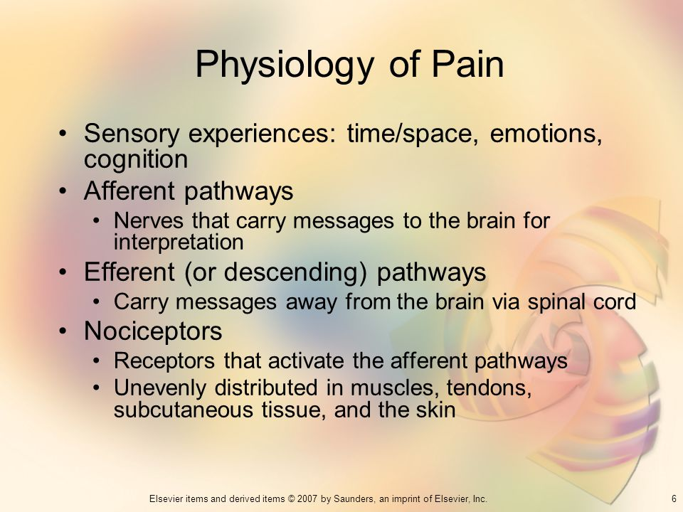 Physiology of Pain Sensory experiences: time/space, emotions, cognition. Afferent pathways.