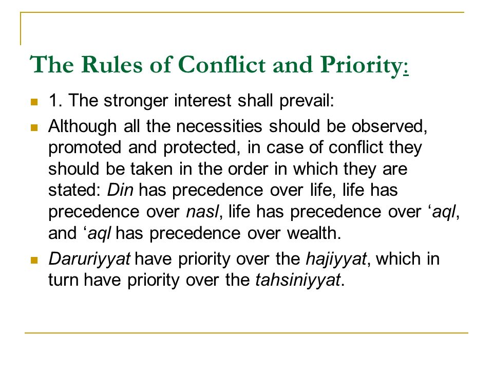The Rules of Conflict and Priority: