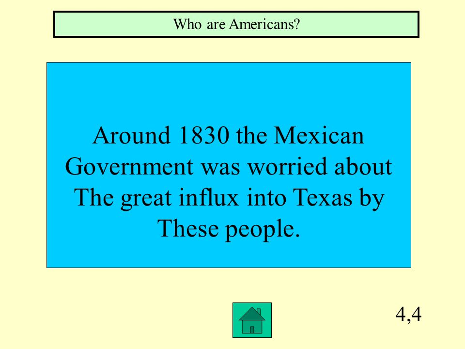 Government was worried about The great influx into Texas by
