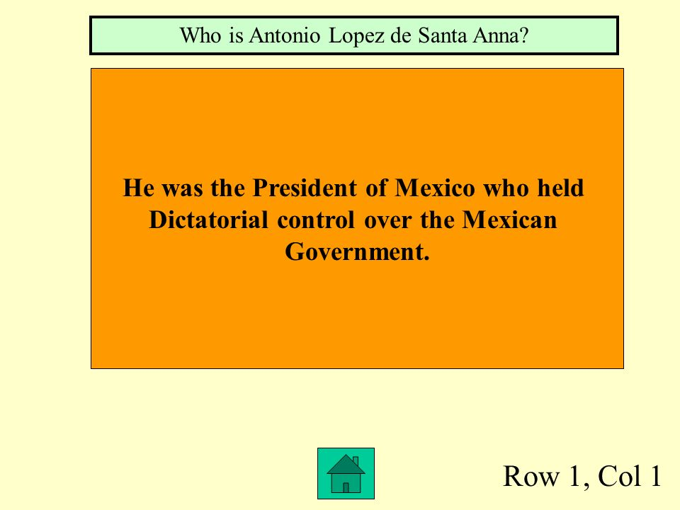Row 1, Col 1 He was the President of Mexico who held