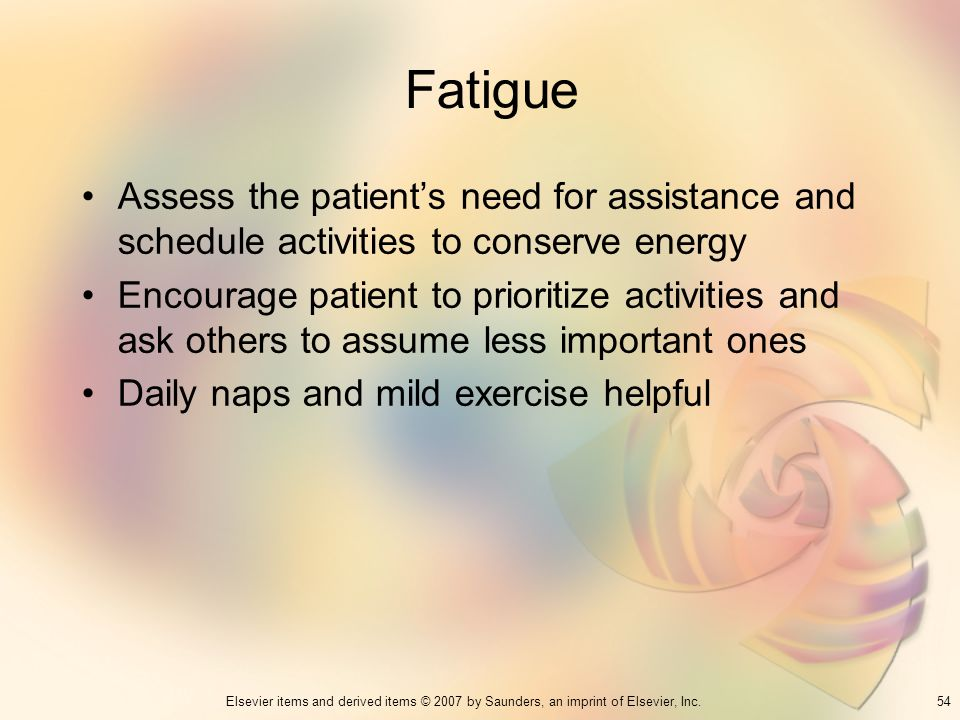 Fatigue Assess the patient's need for assistance and schedule activities to conserve energy.