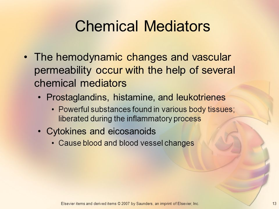 Chemical Mediators The hemodynamic changes and vascular permeability occur with the help of several chemical mediators.