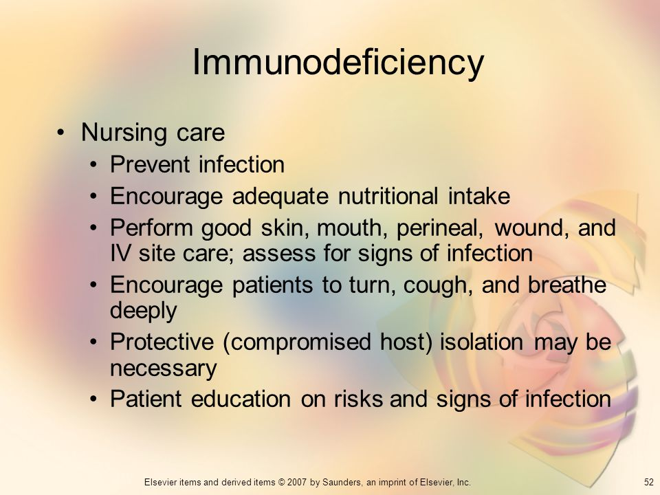 Immunodeficiency Nursing care Prevent infection