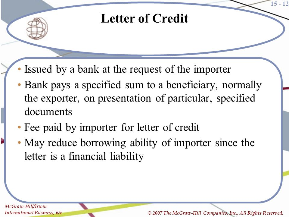 Letter of Credit Issued by a bank at the request of the importer