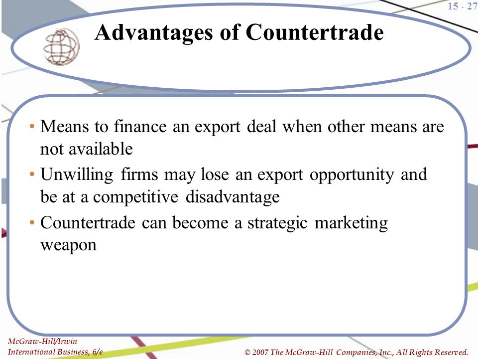 Advantages of Countertrade