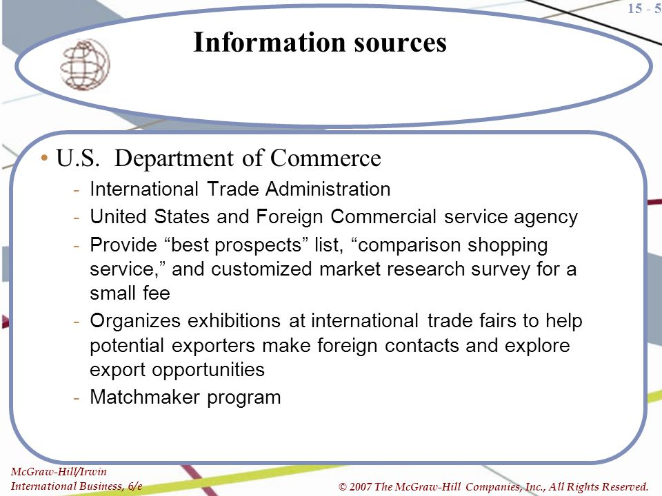 Information sources U.S. Department of Commerce