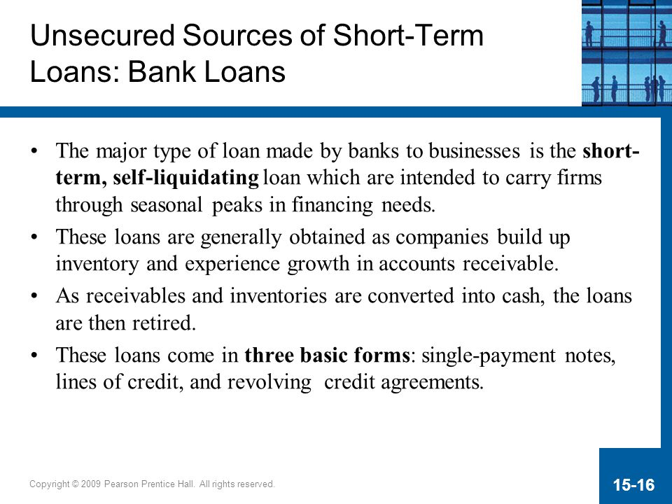 Types of unsecured self liquidating loans