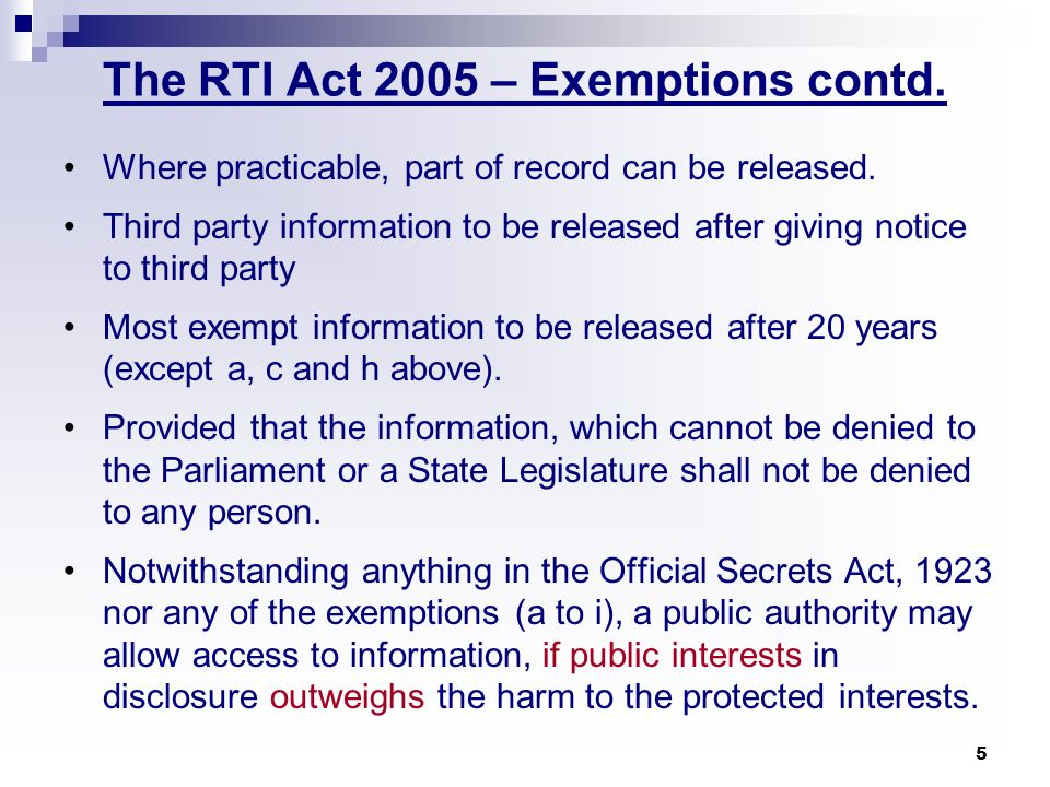 The RTI Act 2005 – Exemptions contd.