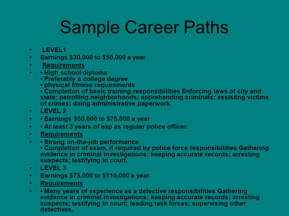 Sample Career Paths LEVEL1 Earnings $30,000 to $50,000 a year