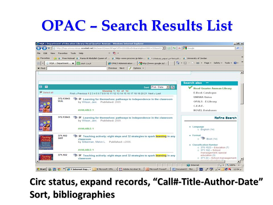 OPAC – Search Results List