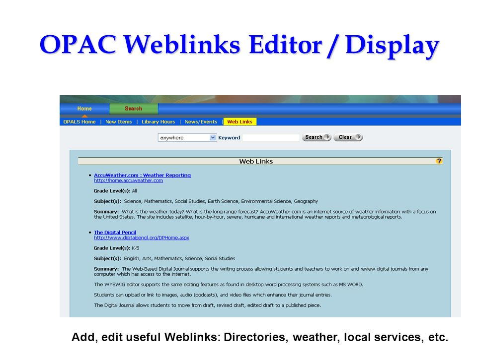 OPAC Weblinks Editor / Display