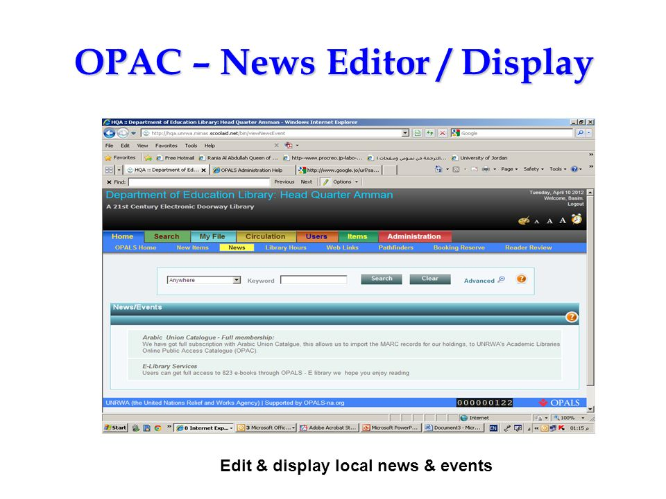 OPAC – News Editor / Display