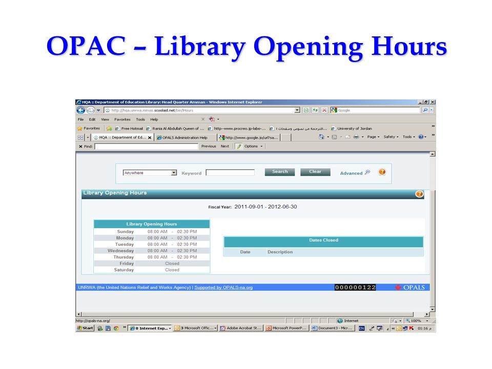 OPAC – Library Opening Hours