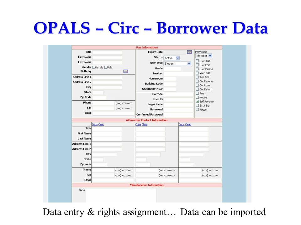 OPALS – Circ – Borrower Data