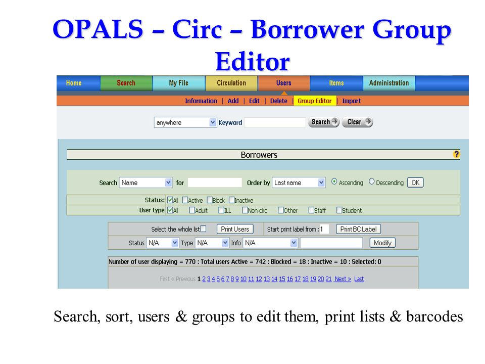 OPALS – Circ – Borrower Group Editor