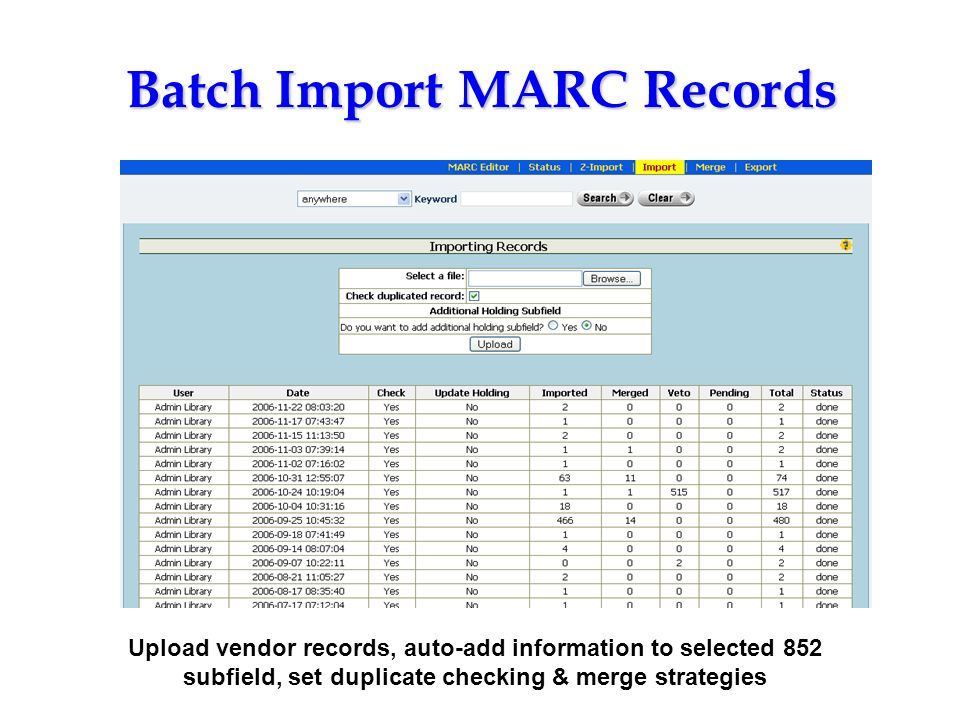 Batch Import MARC Records