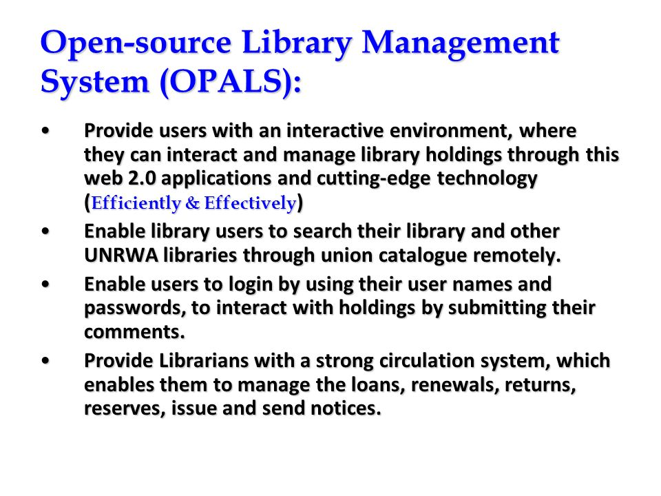 Open-source Library Management System (OPALS):